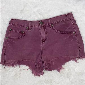 Free people frayed hem raspberry denim shorts 26